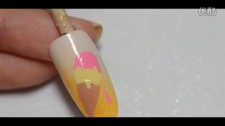 光疗胶美甲教程d2【MY美丽物语】柠檬冰淇淋美甲