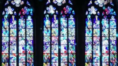 欧式建筑风格教堂窗户 玻璃彩绘花窗雪花粒子飘落动态视频素材