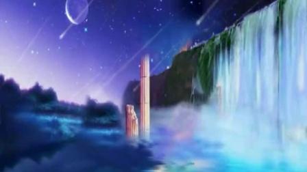 唯美梦幻蓝色深湖瀑布 天空流星月亮标清动态背景视频免