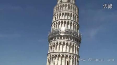 国外著名旅游景点 城市名胜建筑意大利比萨斜塔特写