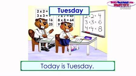 """""""今天星期几?""""(英语教程第二级第4课) 预览 - 一周的日期,英语教学,儿"""