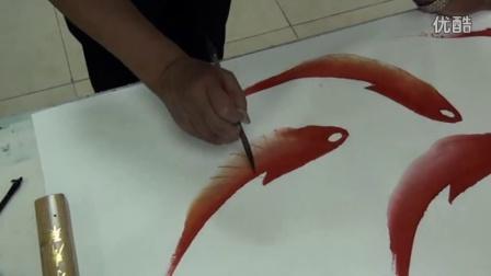 现代书画名家张起金先生笔下鱼儿画中游