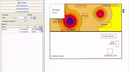 NoiseAtWork 建筑噪声模拟软件对于噪声分布的预测功能演示