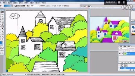 儿童画树林里的房子2电脑上色跟李老师学画画