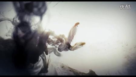 古典器皿青花瓷水墨画飘浮花瓣 青花瓷视频素材_20167123344