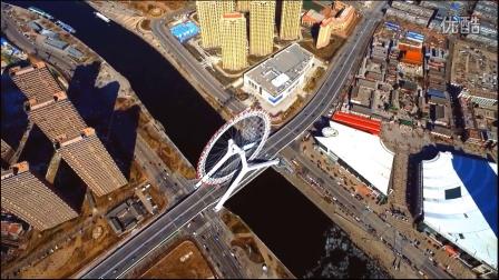 航拍天津之眼大疆无人机航拍摩天轮天津旅游高空摄影。天津最好玩的旅游景点之一