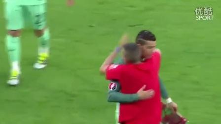 2016 欧洲杯 葡萄牙 vs 威尔士 2-0 !太扯了, 球迷竟然在赛场中央, 强迫与C罗自拍