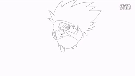 [小林简笔画]如何绘画动画片《火影忍者》中的卡卡西卡通动漫简笔画教程