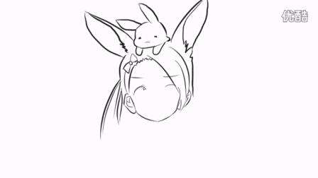 可爱的兔子小女孩简笔画
