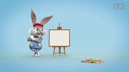 AE模板 可爱卡通小兔子画LOGO片头