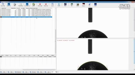 视频光学接触角测量仪用于实时测试液滴的本征接触角值以及半径