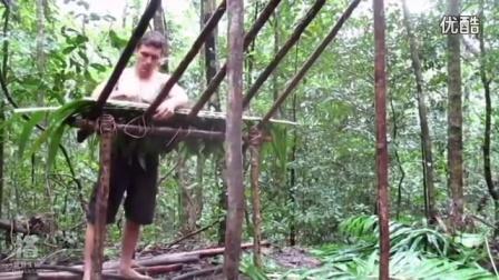 澳洲小哥野外求生技能(第7集):搭建木棚、吃蜂蜜_高清