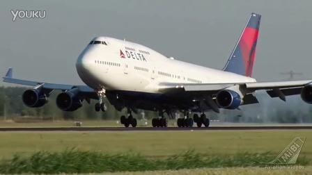 达美航空波音747-400客机荷兰史基埔机场降落    PS 35年新飞机