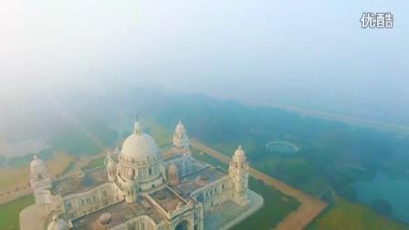航拍 印度 加尔各答 清晨 城市风光