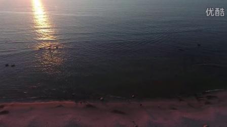 航拍 丹麦 希茨海尔斯 傍晚 海边风光