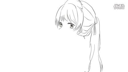 [小林简笔画]如何绘画可爱的单马尾少女与麻雀卡通简笔画教程