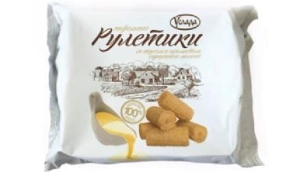 俄罗斯进口香草炼乳酥脆蛋卷饼干休闲零食特产食品200克 满包