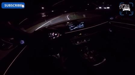 车内主视角记录夜晚试驾宝马BMW 750Ld