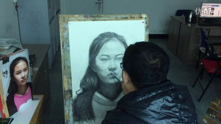青龙二中 素描女生头像  李印祥