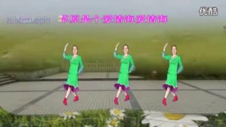 艳桃广场舞  最新广场舞 我在草原等你来 正面演示 王广成编排 乌兰图雅演唱