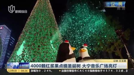 4000颗红浆果点缀圣诞树  大宁音乐广场亮灯 上海早晨 161206