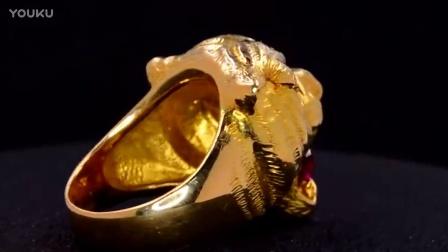 独特霸气的男款豹头,红宝石戒指欣赏。