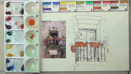 Line and wash watercolor painting tutorial - window boxes