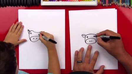 How To Draw A Cartoon Cow 卡通牛