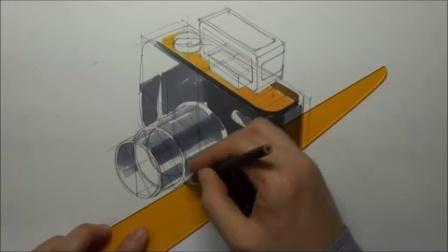 照相机设计马克笔手绘