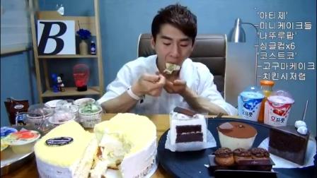大胃王奔驰小哥吃Costco的蛋糕、迷你蛋糕、鸡肉卷、雪糕杯
