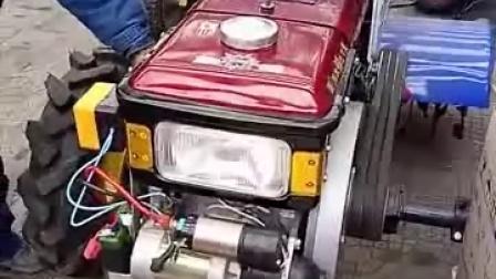 刚买的手扶拖拉机,改装锂电池电启动,真是完美搭配!