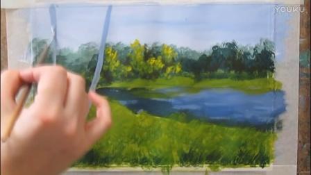 水粉画自学视频——白桦林风景