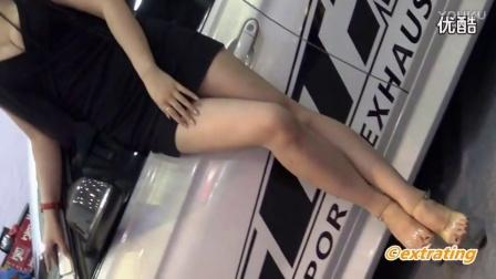 【美女写真系列】6_黑色连衣裙美腿美女车模_国内改装车车展_高清