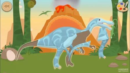 考古学家03期:棘龙-挖掘恐龙化石 拼图 填色游戏,儿童游戏 亲子游戏