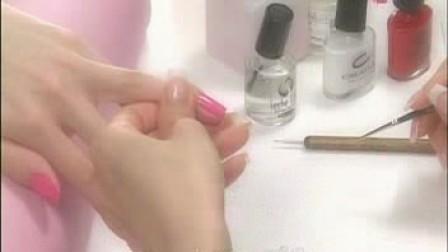 指甲彩绘 红桃大理石纹