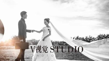 黑白系列个性婚纱照,V视觉摄影