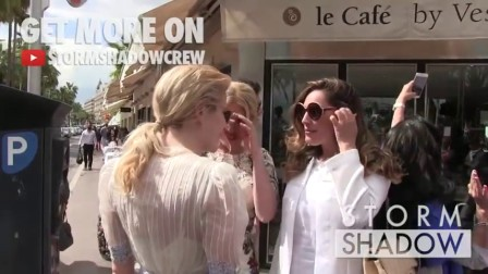 Pixie Lott bumping into Kelly Brook in Cannes