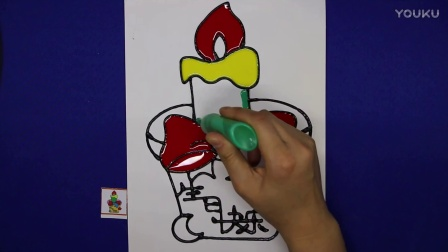 爱乐家园 亲子游戏 生日蛋糕胶画  智力游戏 儿童胶画