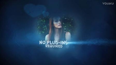 蓝色梦幻唯美甜蜜爱心图片照片墙婚礼成长纪念册暖场视频AE模板