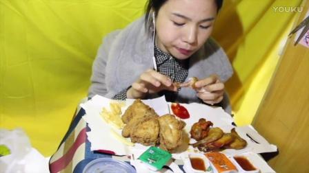 88爱吃饭的妹子  kfc牛油果汉堡+牛油果鸡肉卷+薯条吮指原味鸡蛋挞奥尔良烤翅可乐 中国吃播~