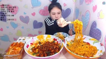 韩国女主播弗朗西斯卡大胃王吃播大挑战(香肠、面条)直播间2017.3.24