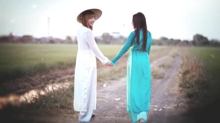 Jannine & Chaleeda in Vietnam clothing (Ao dai)