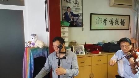 广东音乐小合奏<春风得意>扬琴陈宝珍,高胡周双喜,中阮吴巧明,电阮潘志坤,小提琴杨德钧,击乐区壁城,摄影英子。