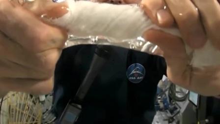 国外一段很火的视频,太空中拧湿毛巾,和我想的完全不一样