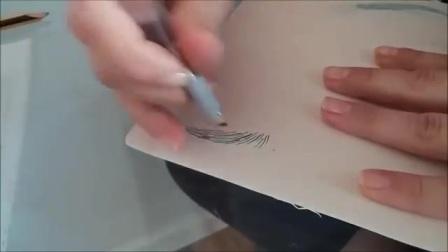【半永久纹眉教学】韩式落尾眉画法,标准画法练习讲解