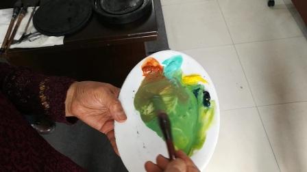 王老师写意花鸟中级向日葵颜色的调配2