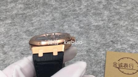 视频:外观展示,JF厂爱彼15400玫瑰金壳黑面皮带