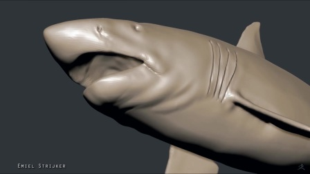 Great white shark Zbrush-Sculpting and texturing the body