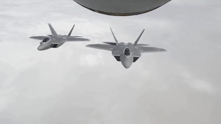 美军F-22隐形战斗机空中加油