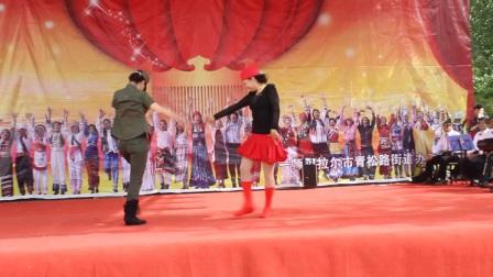 塔河情广场舞2017年庆五一劳动节文艺汇演水兵舞双人对跳高莲芝小何